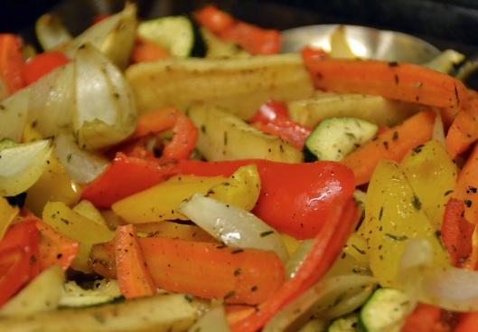 ugnsstekta grönsaker m chevre