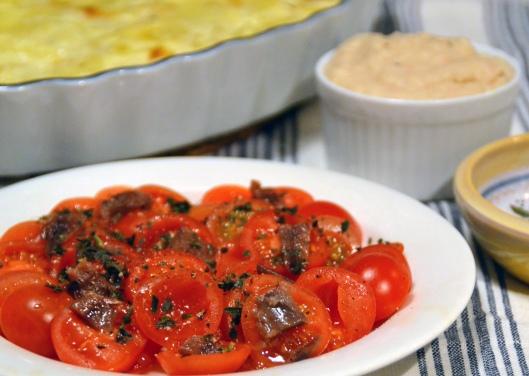 sallad m tomat o sardeller